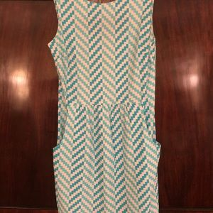 Jude Connally aqua zig zag knit dress